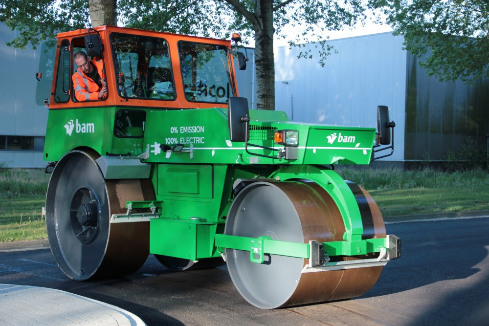 Watch: First fully electric asphalt roller hits the road