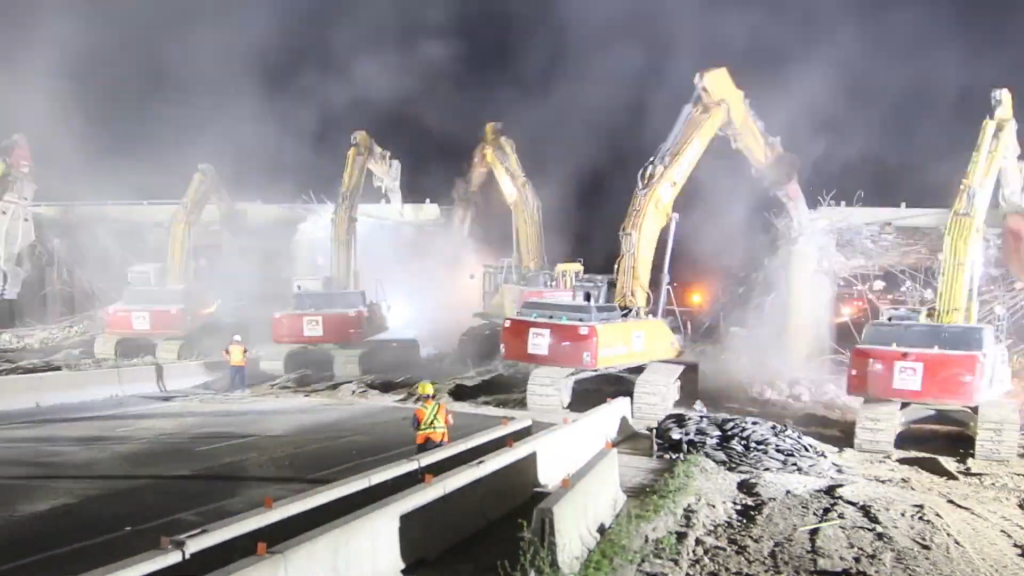 Watch: Bridge season continues for Priestly with demolition of the Hwy 401 & 6th Line Bridge