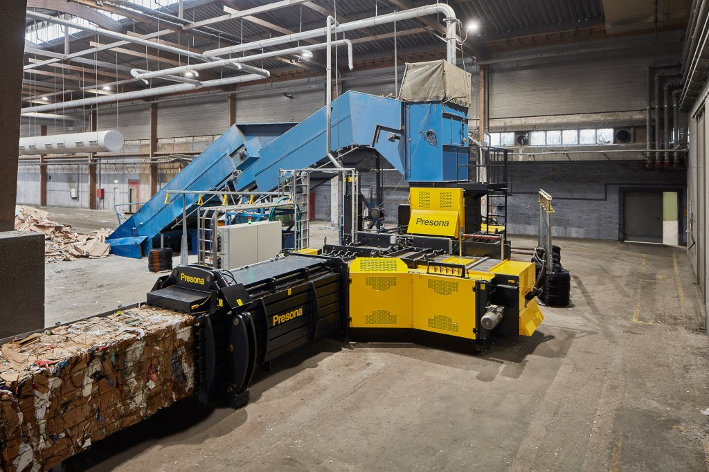 Turbocharged Presona baler allows recyclers to replace two machines with one