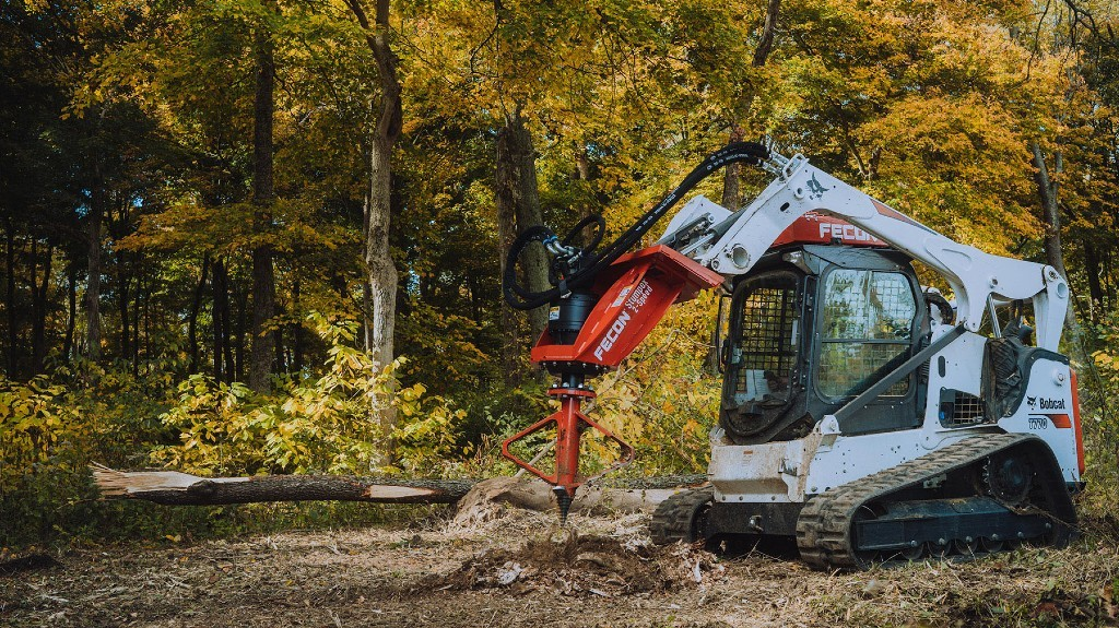 Stump grinder from Fecon removes stumps in half the time