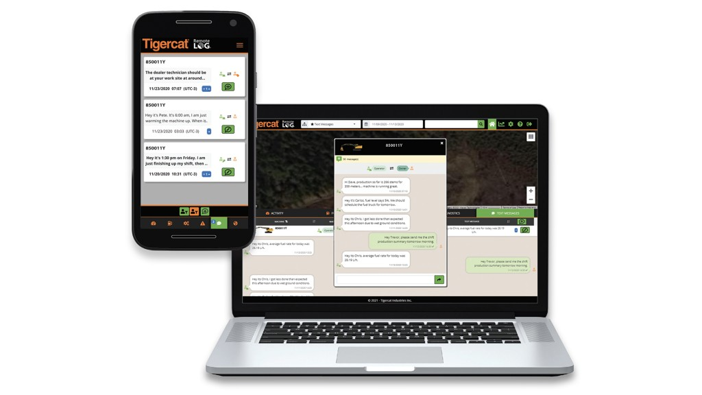 Updates to Tigercat telematics systems let operators send and receive text messages without cellular service