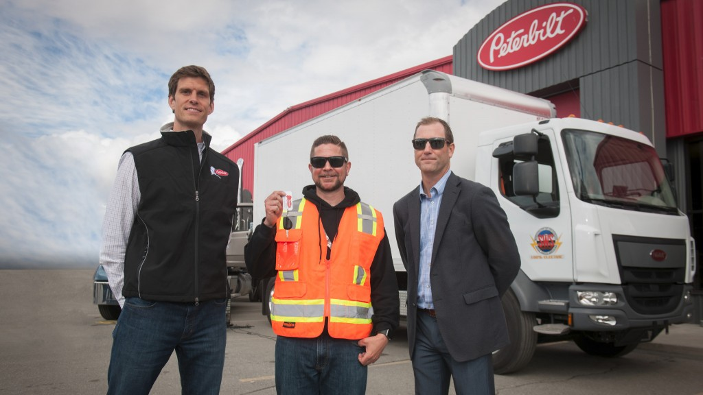 First Peterbilt 220EV battery electric solid waste truck on the road in Alaska