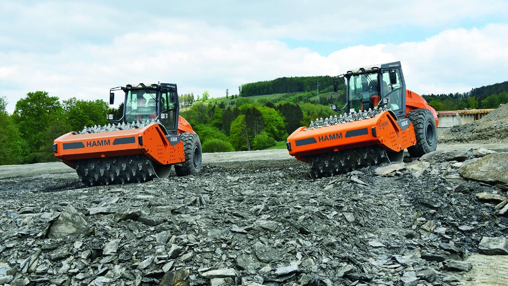 Hamm compactor is rock crusher and padfoot roller all in one