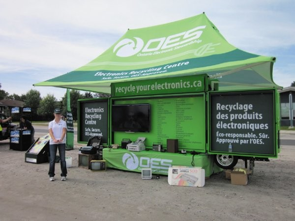 The OES Electronics Recycling Centre which tours around Ontario as part of the organization's collection events, and to educate Ontarians on safe, responsible electronics recycling.