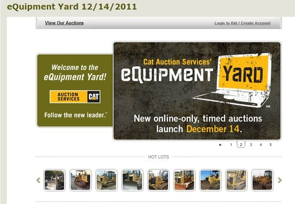 Cat Auction Services Announces Dec. 14 eQuipment Yard Online Timed Auction