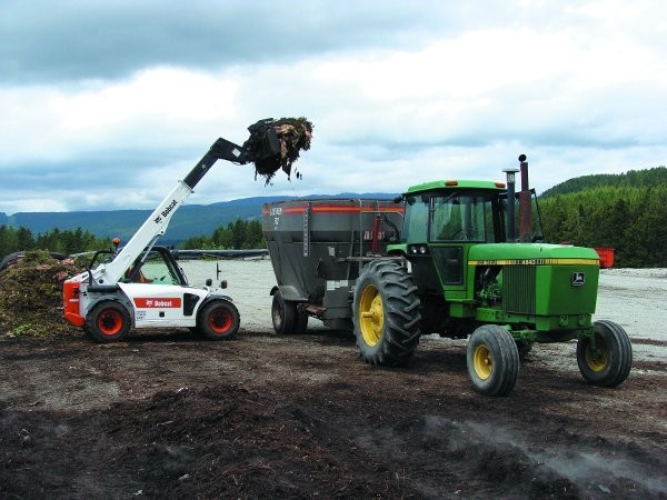 A telehandler, shown here loading a Supreme EnviroProcessor at Stanhope Dairy in Saanich, B.C.