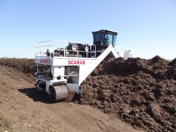 Scarab's latest turner model at Harvest Power's site in Tulare California uses a belt-drive, and is saving the operation up to 35 percent in fuel per day.