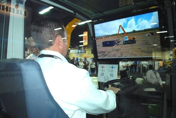 Liebherr's new simulator, made by Montreal-based Simlog, depicts the operation of a wheeled material handler performing scrap handling.