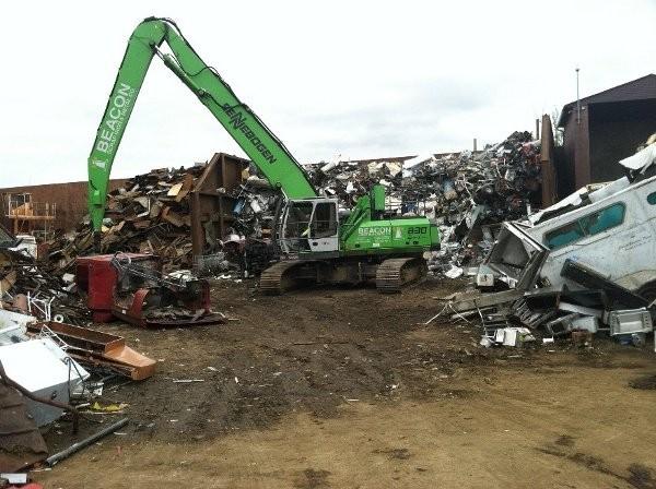 Sennebogen's 830 R-HD green machine tracked scrap handler at Beacon Scrap Iron & Metal