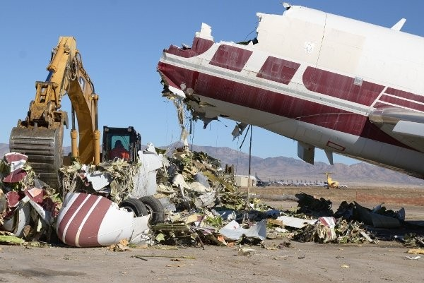 Aircraft manufacturers estimate that up to 44 percent of the global fleet will be replaced in the next 20 years, amounting to more than 13,000 airplanes. Photo courtesy of Aircraft Demolition LLC.