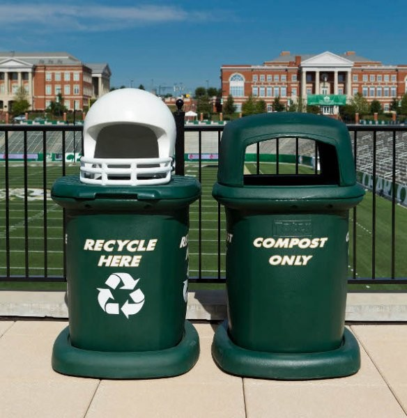 Toter contributes to UNC Charlotte's zero-waste sustainability efforts with customized Fan Cans for recycling and composting