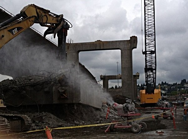 A BT-MGC unit (Gasoline Monsoon Complete with Oscillation) shown working on the Port Mann bridge demolition and construction project in Vancouver, B.C. (2013). The unit was delivered by Van Ed Equipment who reports that it has effectively controlled the dust issues throughout the duration of the massive project.