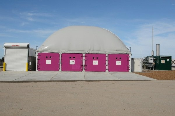 The dry anaerobic digester at ZWE's Monterrey Regional Waste Management District Facility in Marina, California.