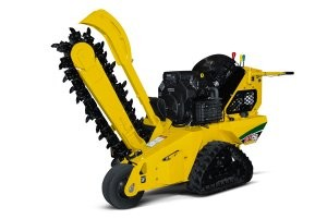 Pedestrian trencher features easy to operate steering system