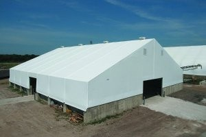 Fabric buildings use rigid frame, structural steel beams