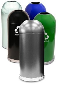 Hands-free waste and recycling containers