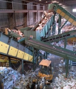 Dry commercial materials recycling system
