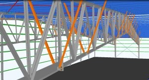 Hybrid metal building open web rafter system