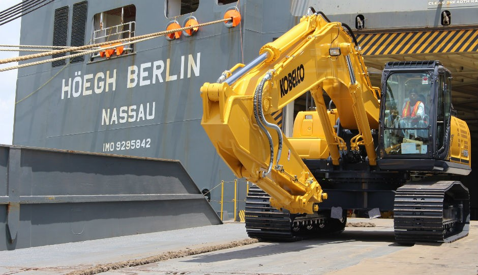 KOBELCO's New Tier IV SK350 recently arrived at the Port of Galveston and is now available in North America.