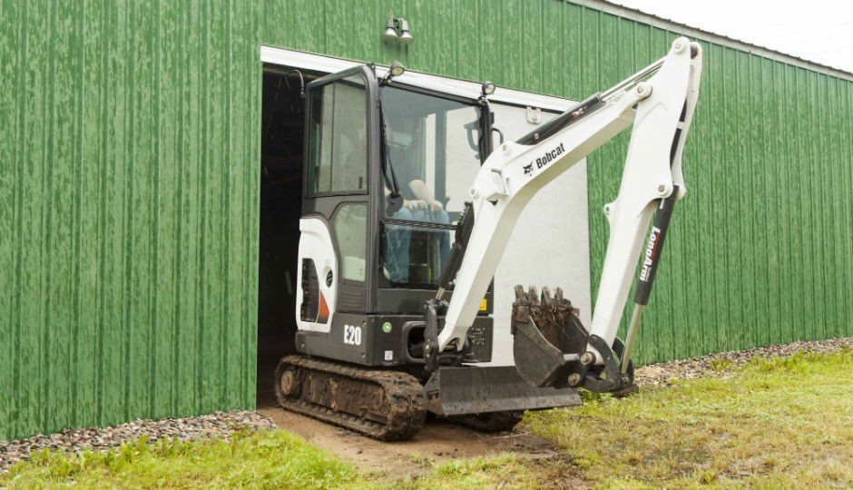 Zero Tail Swing Bobcat E20 Compact Excavator Features Retractable Undercarriage and Improved Cab Design