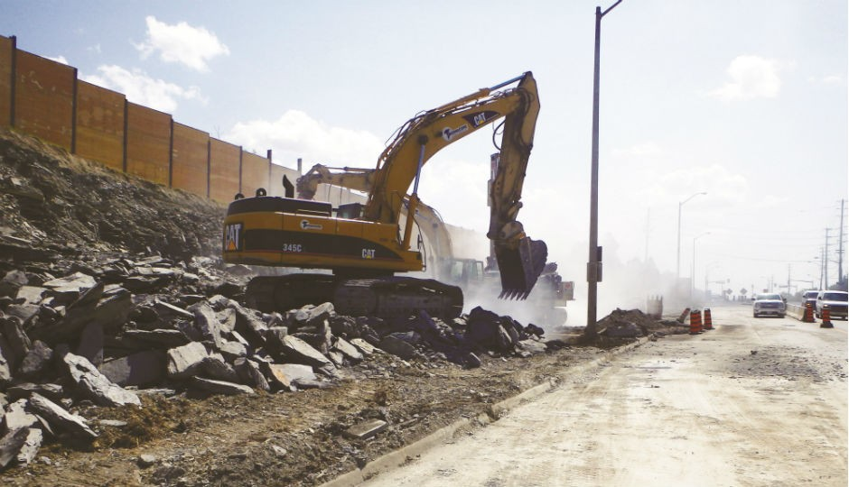 Excavation begins for one of the watermain shafts along Tomken Road.