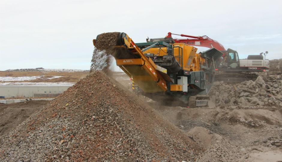Mobile Impact Crusher Tackles Edmonton Waste Pile