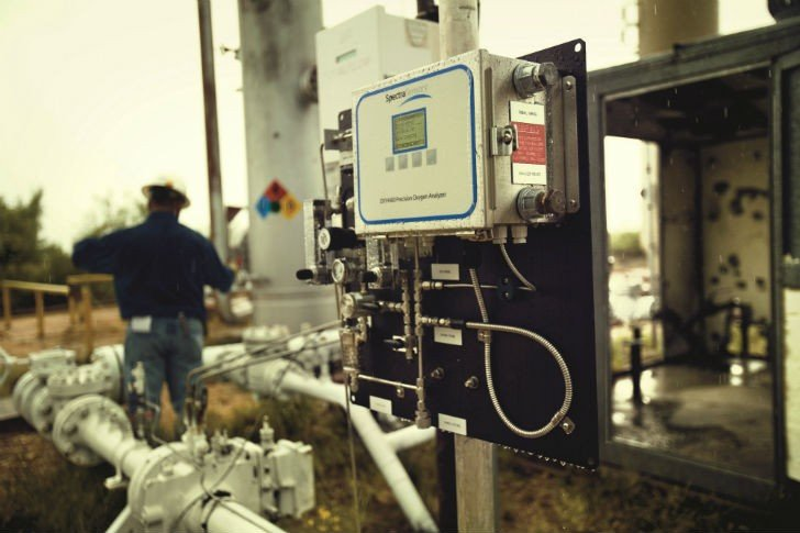 On a natural gas pipeline, it's the gas analyzer's job to read the gas in the line and make certain the O2 content meets the tight specs required by the purchaser.