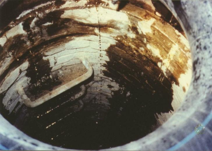 Leaking manhole.