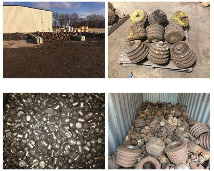 Clockwise from top left: Rend Lake's yard where carbon steel is stored; raise bore bits; scrap carbide compacts after they've been cleaned; and containerized drill bits ready for shipping.