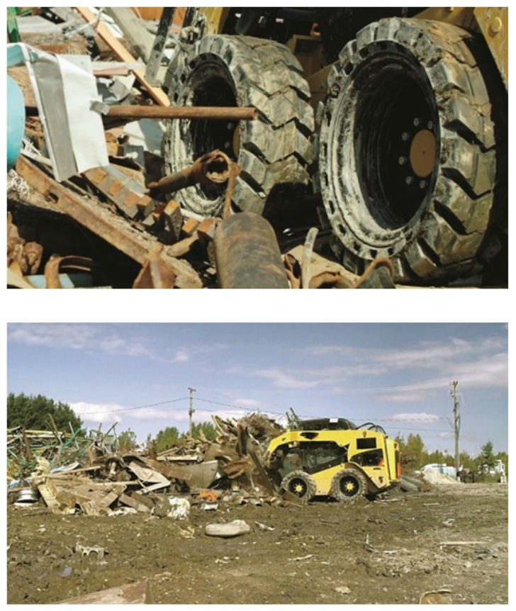 Top: Scrap yards, transfer stations and recycling facilities offer no shortage of hazards that can shorten the life of your tires. Bottom: Working on an unimproved surface, traction and floatation may be more important than durability.