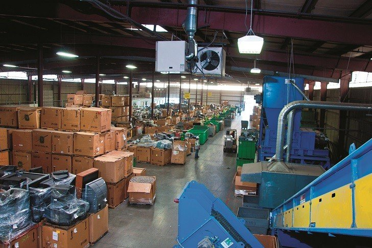 Inside an IMS Electronic's electronics waste recycling facility.