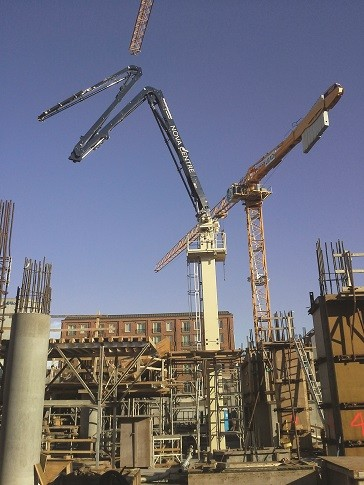 Putzmeister MX 34/38Z Placing Boom is being used to build vertically on the project.