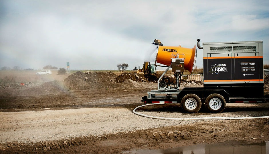 The DB-60 Fusion dust suppression system is powered  by an efficient generator for job sites with no utility service.