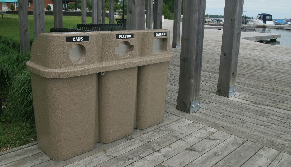 Techstar Plastics Introduces Stainless Steel Flaps to Bullseye Trio Commercial Recycling Containers.