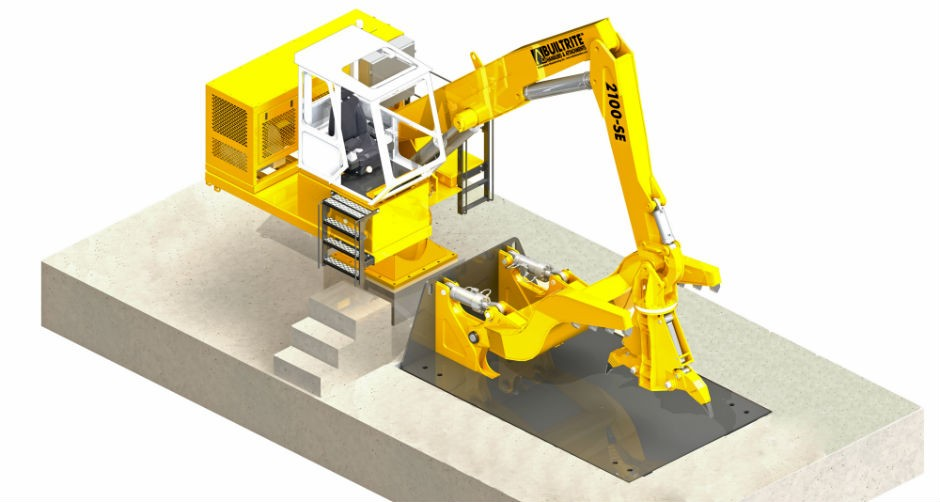 Northshore Manufacturing combines model 2100-SE stationary electric handler with its auto dismantling system
