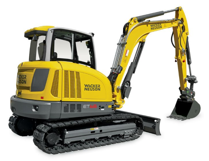 ET65 compact track excavator is powered by a 48-horsepower Tier 4 Final, turbo-charged Perkins engine.