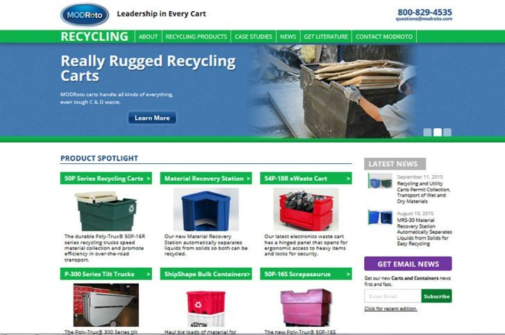 New recycling products website showcases collection carts and bulk containers