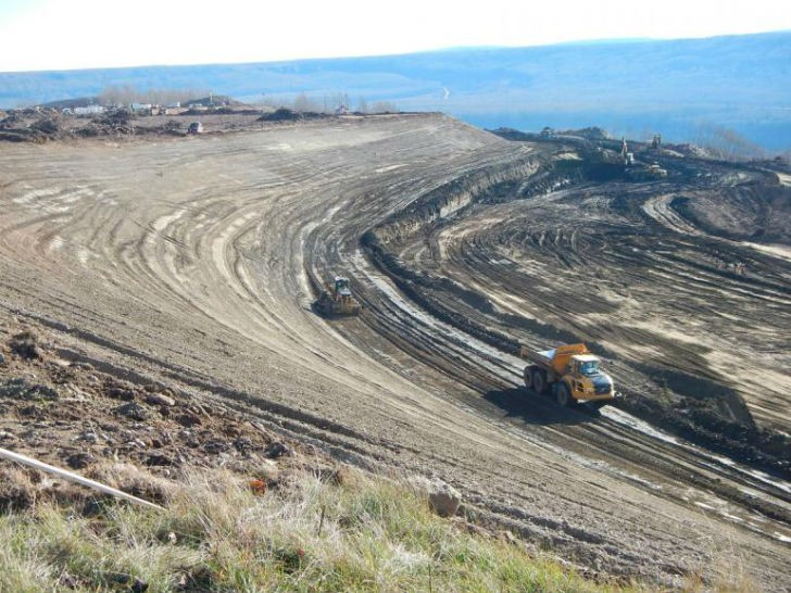 North bank stabilization at the Site C dam site.
