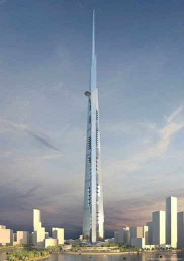 Aiming high: After its completion, the Kingdom Tower will be more  than 1,000 m high making it the tallest building in the world.  Copyright: Adrian Smith + Gordon Gill Architecture.