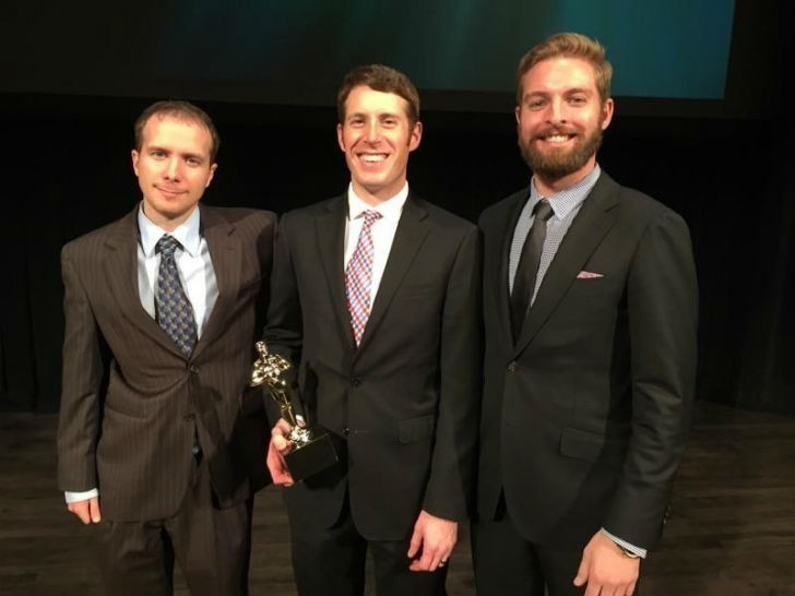Sean Kline, Andrew Maxey, and Mark Williams of Vartega Carbon Fiber Recycling receiving the National Emerging Technology Award at the Cleantech Open Global Forum on November 19, 2015 at Herbst Theatre. (PRNewsFoto/Vartega Carbon Fiber Recycling)