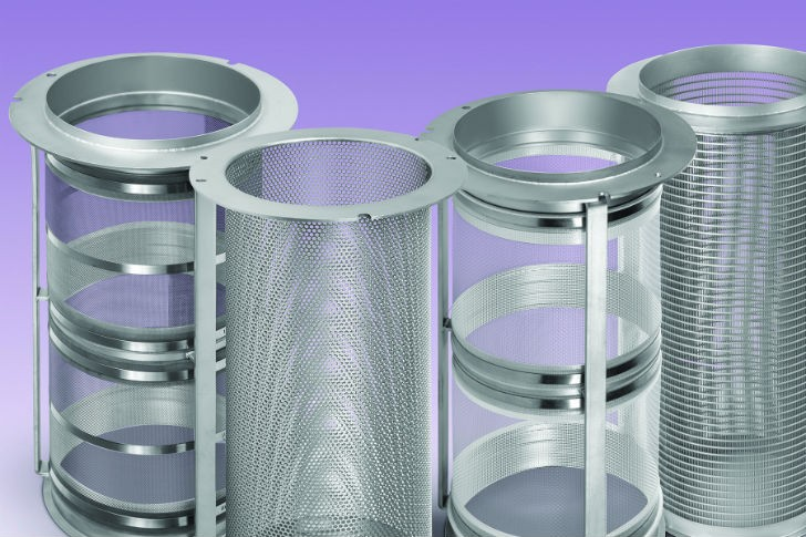 """The K-Series Replacement Screens Program for all makes and models of centrifugal sifters spans (left to right): woven wire screens, perforated plate """"screens,"""" synthetic screens and wedgewire screens."""