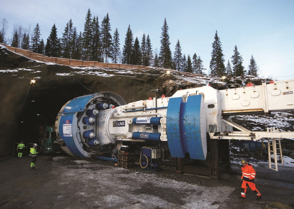 The Robbins Main Beam machine was launched in January 2014 and overcame hard rock, water inflows, and more. Photo credit: Statkraft