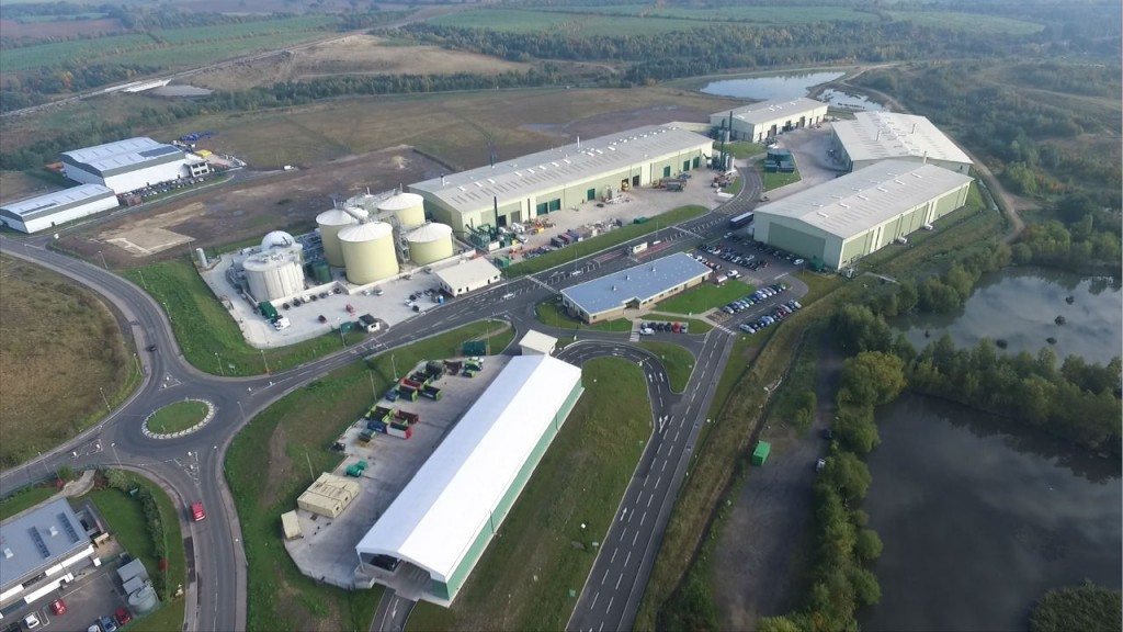 Aerial view of Shanks waste treatment facility in South Kirkby.