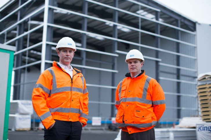Raymond Cooke Operations Director and Colin Trainor  Finance Director outside new CDE Factory