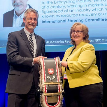 """Steve Skurnac global president of SRS is proud to receive the """"IERC Honorary Award"""" at the International Electronics Recycling Congress (IERC) 2016."""