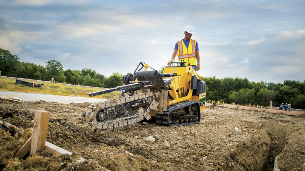 Vermeer FTX25  footings trencher easily fit into tight jobsites more easily than a compact excavator.