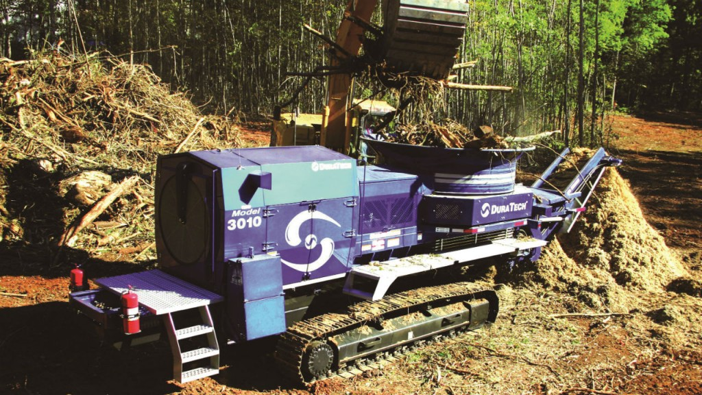 """The 3010 Tub Grinder is Duratech's """"erector set"""" of a tub grinder, with multiple engine choices, trailer and track-mounting. It can be equipped with a grapple."""