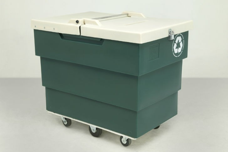 The 50P Series recycling carts come in three sizes: 50P-12: 11 bushel capacity, 5014: 16 bushel capacity, 50p-16: 18 bushel capacity.