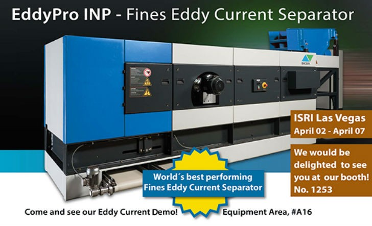 """SICON Fines EddyPro INP separates the finest non-ferrous metals, even as small as < 0.5 mm (0.02"""")"""