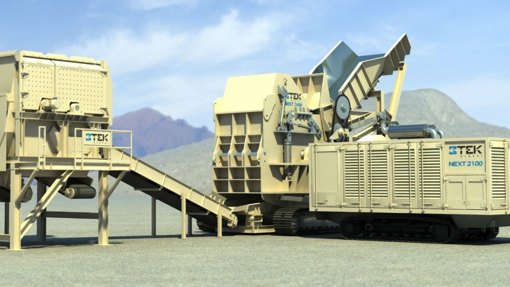The NEXTTM 7400 mobile shredder hammermill system with the Next 2100: CAT 2100 hp Diesel, 3516.